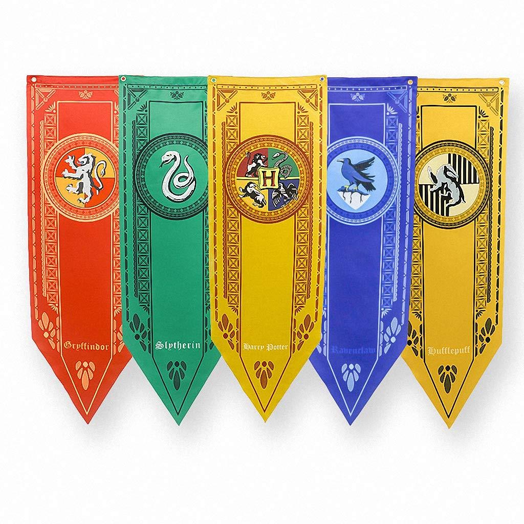 TianLinPT Harry Potter Gryffindor Slytherin Hufflepuff Ravenclaw Hogwarts Pared Banderas Banderas decoración de la casa para la Barra, Club, salón, ...