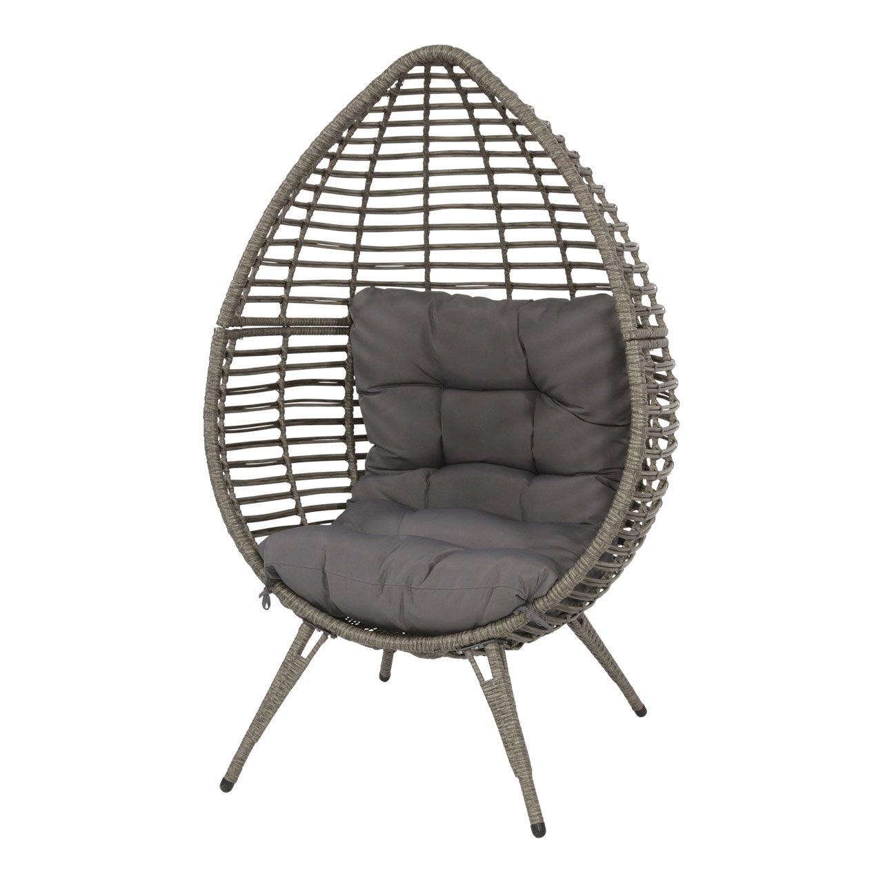 lifestyle4living Gartensessel aus Polyrattan Geflecht grau. Wetterfester Rattansessel inkl. Sitzkissen, ideal als Garten, Balkon-Sessel und Terrassensessel.