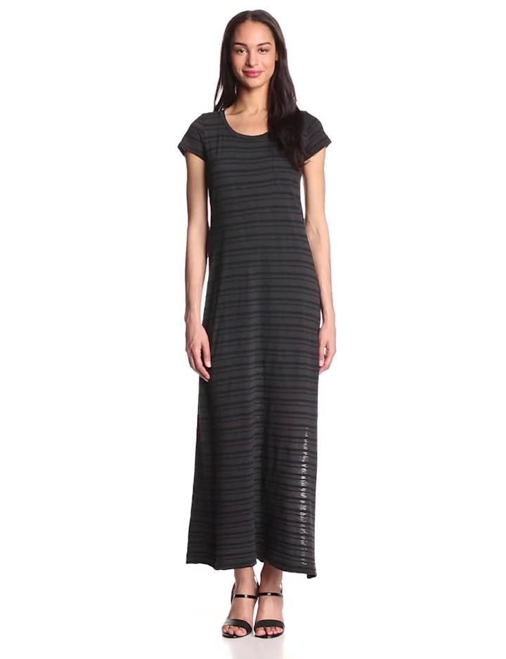 Splendid Women's Short Sleeve Pocket Top Stripe Maxi Dress, Matte Black, Large