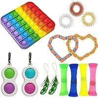 14pcs Sensory Fidget Toys,Simple Dimple with Keychain,Silicone Flip Sensory Dimple Toy,Keychain Featuring Easily…