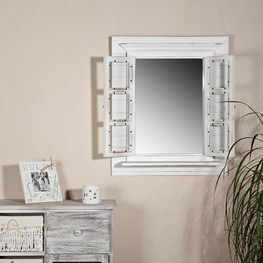 64CM Wandspiegel + Fensterladen + Ablage und Fotorahmen Shabby weiß ...