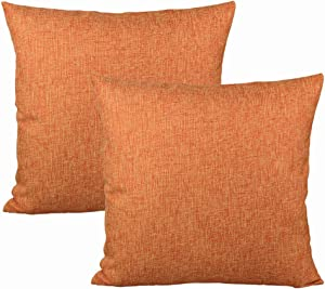 All Smiles Lime Fall Orange Throw Pillow Covers for Outdoor Patio Furniture Decorative Square Solid Yellow Gray Cotton Linen Burlap Cushion Case Bed Sofa Couch Set of 2 18