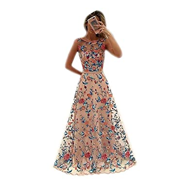 Amkun Women Scoop Neckline Gorgeous Sleeveless Floral Embroidery Evening Long Prom Dresses (S, Pink
