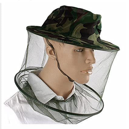 ff1fcad2151 Amazon.com   TUDIO Men Women Gauze Camo Hat Elastic Neck Mosquito Bug Bee  Insect Resistance Sun Net Mesh Head Face Protector Fishing Hunting Hat    Sports   ...
