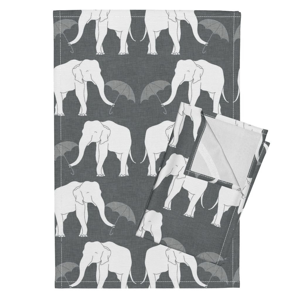 Roostery Elephant Grey Linen Umbrella White Animal Tea Towels Elephant_and_Umbrella_Grey by Holli Zollinger Set of 2 Linen Cotton Tea Towels by Roostery