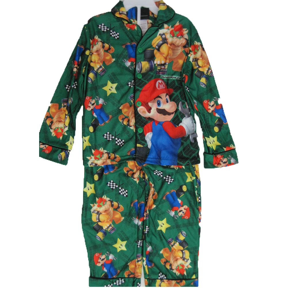 Super Mario Little Boys Green Cartoon Inspired 2 Pc Pajama Set 6
