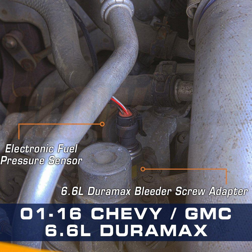 Glowshift Diesel Fuel Pressure Bleeder Screw Sensor Ford 7 3 Filter Restriction Adapter For Chevy Gm Duramax 66l Automotive