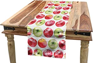 "SHANNON Throw Apple Table Runner, Watercolor Macoun Cameo and Granny Smith Drawing in Agricultural Yield Pattern,Dining Room Kitchen Rectangular Runner,14"" x 72"", Apple Green Red"
