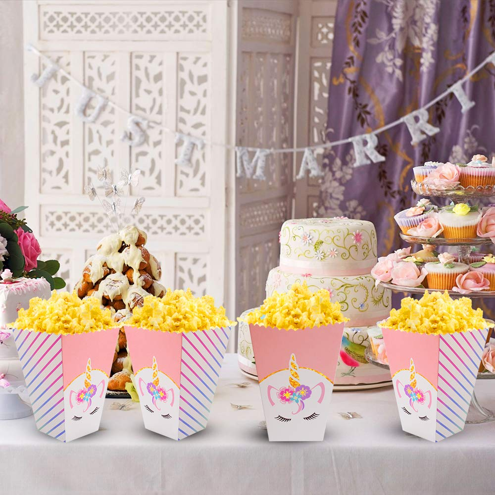 24 Pcs Popcorn Boxes Treats for Unicorn Party Favors Supplies by Standie