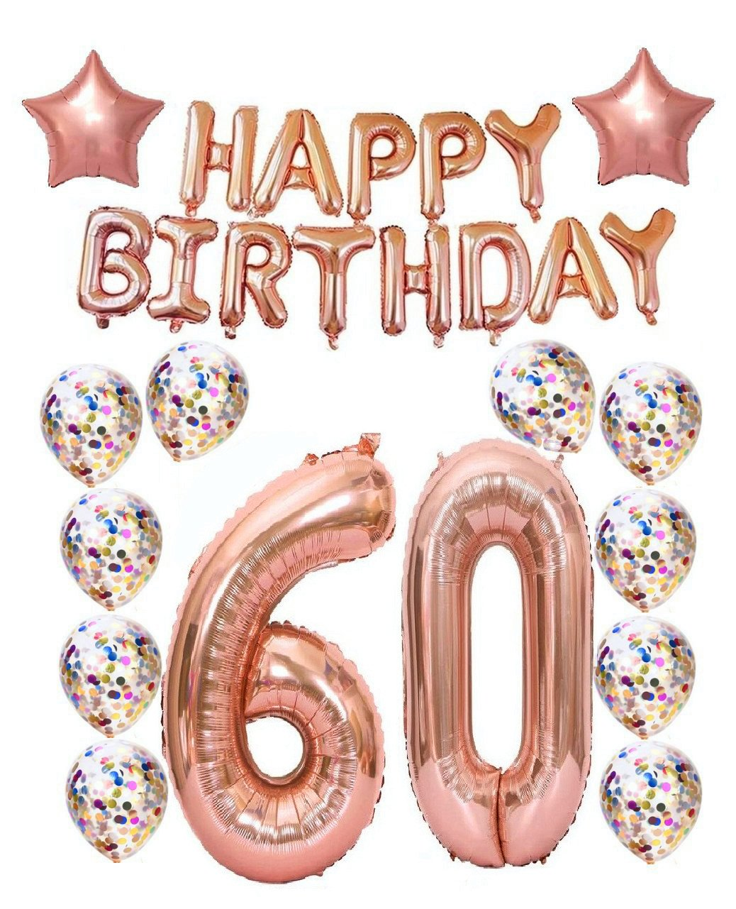 60th Birthday Decorations Party Supplies, 60th Birthday Balloons Rose Gold, Rose Gold Hang Happy Birthday Alphabet Balloons Banner, Gold Confetti Balloons, 60th Birthday for Women Mity Rain
