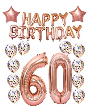 60th Birthday Decorations Party Supplies60th Balloons Rose GoldRose Gold Hang Happy