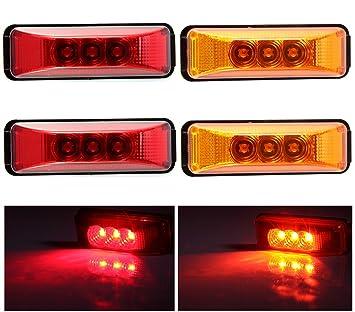 Amazoncom 4pcs 39 3 Leds Truck Trailer 12V LED Front Rear LED