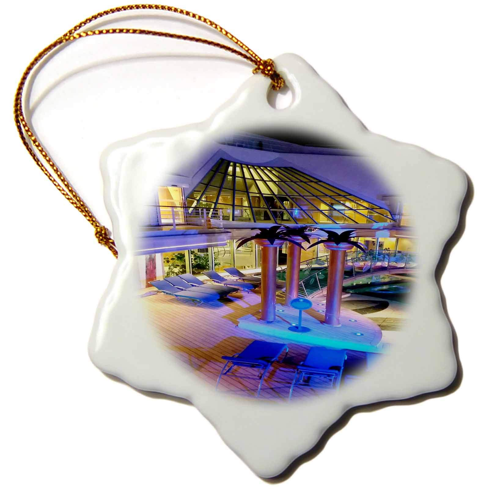 3dRose Lens Art by Florene - Cruise Ship Sites - Image of Adult Pool Area with Spa - 3 inch Snowflake Porcelain Ornament (ORN_291436_1)