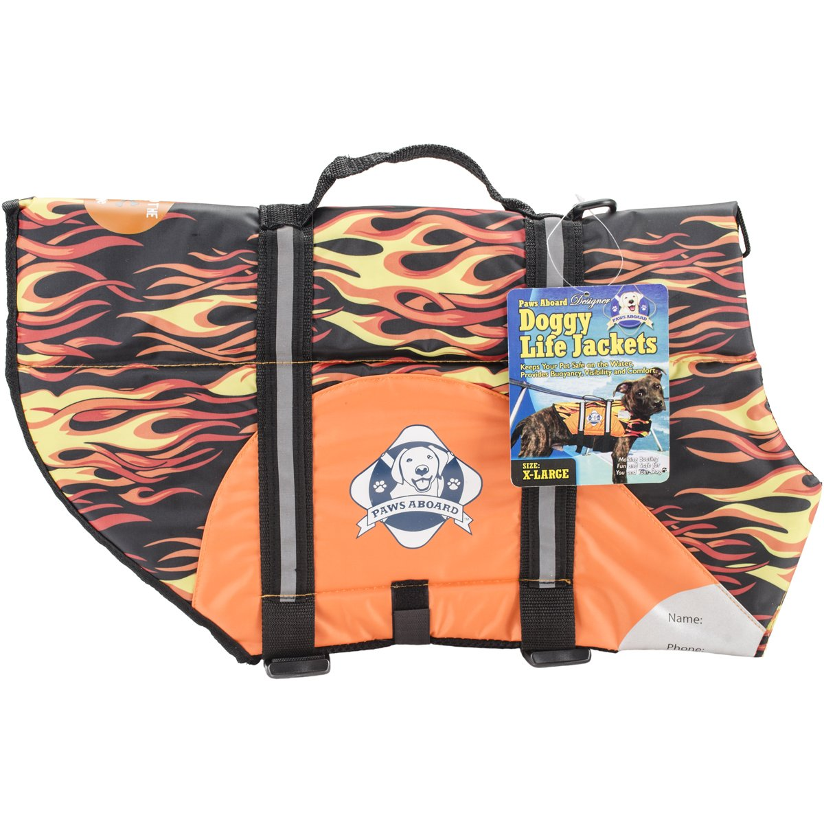 Fido Pet Products Paws Aboard Doggy Life Jacket, X-Large, Racing Flames