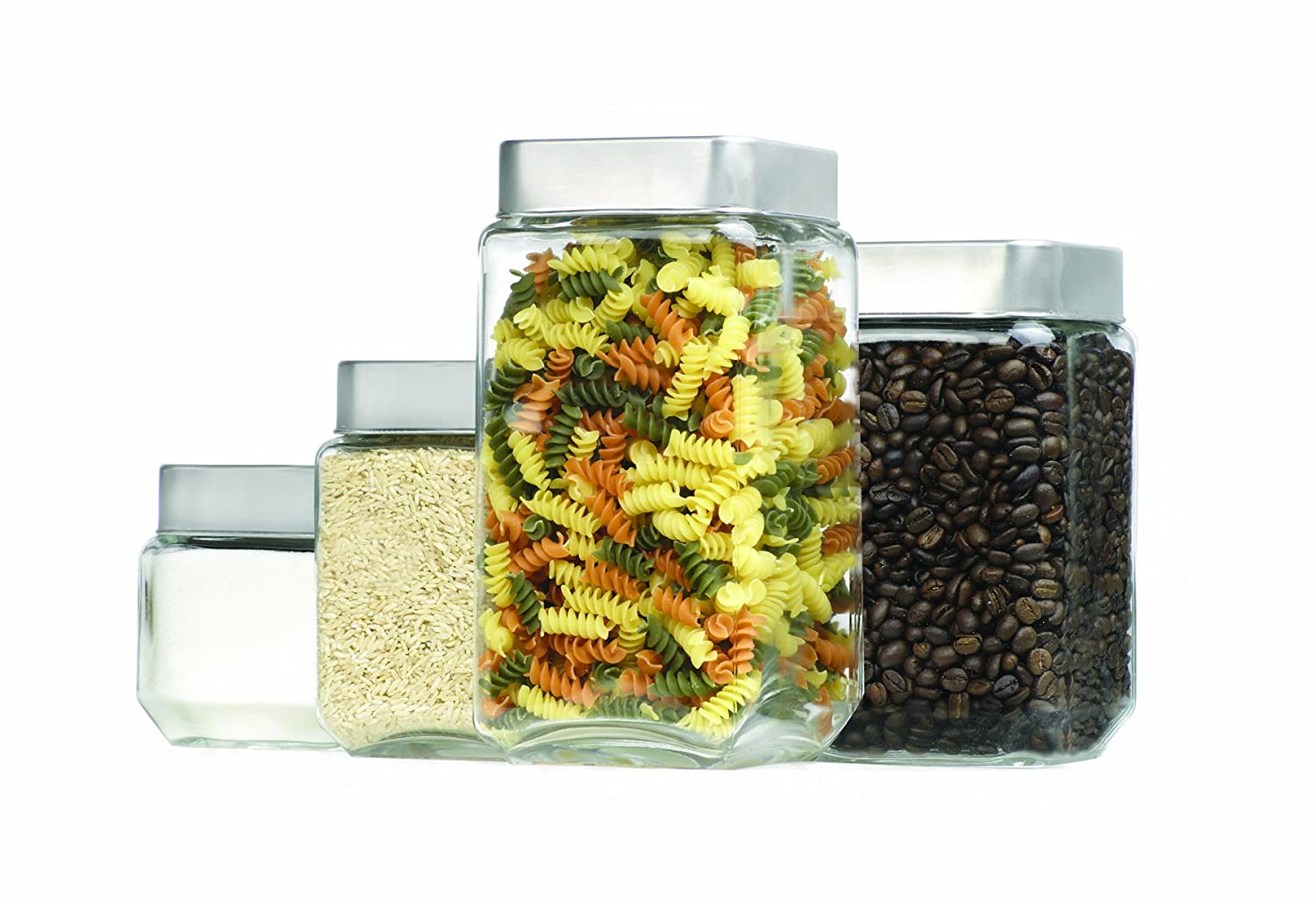 amazon com anchor hocking square glass canisters with stainless