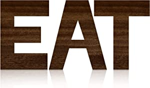 3 Pieces Wooden Eat Letters Large Eat Wooden Signs Rustic Eat Wall Decors Farmhouse Eat Plaque Decors Kitchen Hanging Wall Signs for Kitchen Home Dining Room Restaurant Cafe Decoration (Wood)