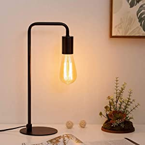 HAITRAL Modern Table Lamp, Industrial Nightstand Lamp, Simple Bedside Lamp for Bedroom, Office, College Dorm - Black
