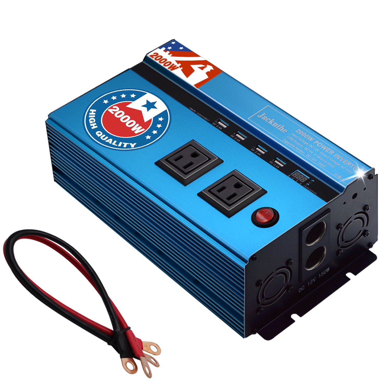 Jacknthe 2000W Power Inverter 12V DC to 110V AC Car Converter with 2 AC Outlets 4 USB Ports Vehicle Inverter with Dual Cigarette Lighter Socket and Digital Display
