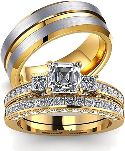 Amazon Com Loversring His And Hers Couples Rings Women 10k Yellow