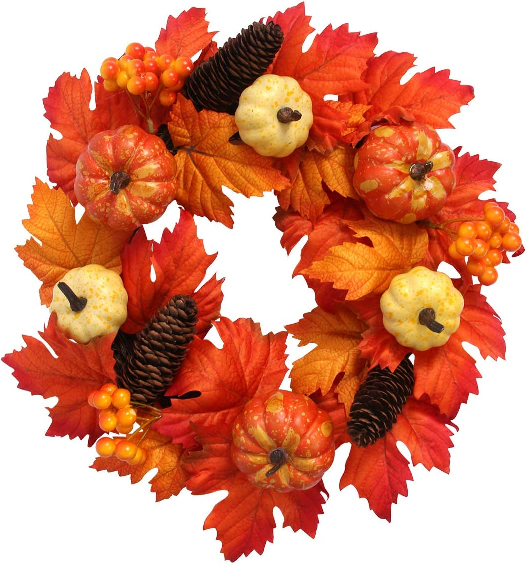 GameXcel Fall Wreath for Front Door - 15Inch Autumn Maple Leaf Harvest Thanksgiving Door Wreath with Pumpkins, Maple Leaves, and Artificial Berries for Halloween, Thanksgiving Day