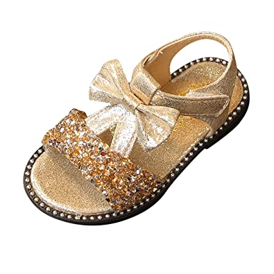 Summer Kids Girl Cute Bowknot Glitter Sequins Sandals Princess Shoes Plus Size