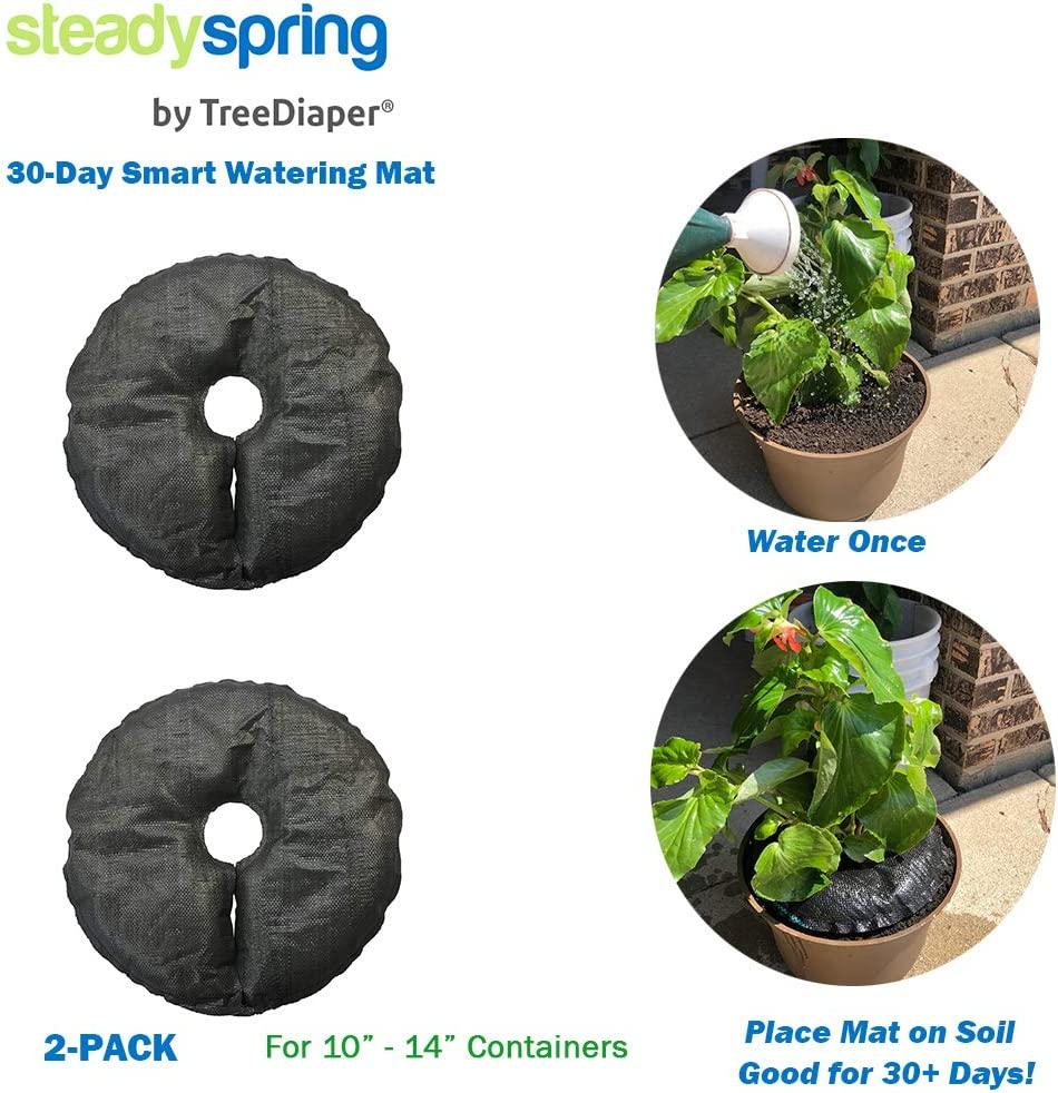 SteadySpring Smart Watering Mat for 10 in or 12 in Containers for Annuals, Herbs, Trees, Tomatoes - Self-Filling, Lasts 30 Days, Automatic Irrigation Mat (2)