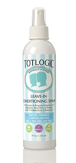 TotLogic Kids Detangler Spray and Leave In Conditioner - Naturally Scented with Essential Oils - Original, 8 oz Best Kids' Detangling Products