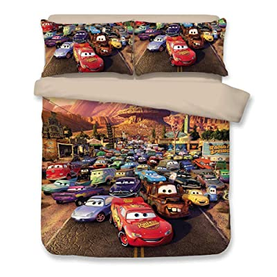 JJ YY 3D Bedding with Disney Cars, Kids Favorite Duvet Cover 3PCS Bed Set,Have Twin, Full, Queen, King Size: Home & Kitchen [5Bkhe2000778]
