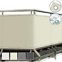Sol Royal SolVision Balkonscherm 90x300ccm - Ondoorzichtige Balkondoek Beige - Windscherm met Ogen en Snoer…