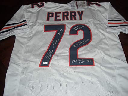 ca8de7efc1e Image Unavailable. Image not available for. Color: William The Fridge Perry  Chicago Bears Sb Xx Champs White Memorabilia JSA/Coa Autographed Signed