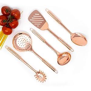 Copper Cooking Utensils for Cooking/Serving, Rose Gold Kitchen Utensils -Stainless Steel Copper Serving Utensils Set 5 PCS-Copper Ladle, Serving Spoon, Pasta Serving Fork, Spatula, Kitchen Skimmer