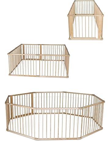 dibea DP0085, Parque para bebés y niños pequeños, madera Parque con puerta, altura