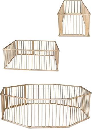 Parque de madera con puerta, Altura 68cm, 4elementos (incl. 1puerta) cada 90x 68cm (L,A).,Const
