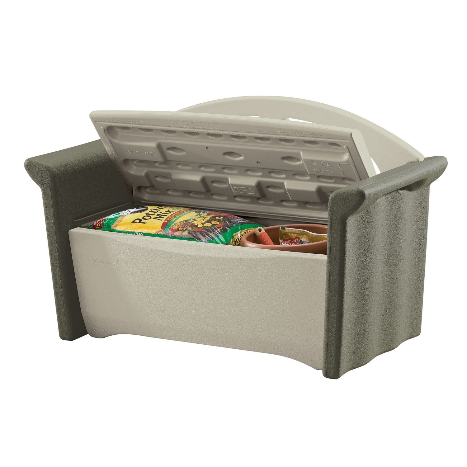 Amazon.com : Rubbermaid Outdoor Patio Storage Bench, 4 Cu. Ft.,  Olive/Sandstone (FG376401OLVSS) : Deck Boxes : Garden U0026 Outdoor