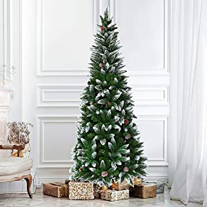 SPSUPE Artificial Pencil Christmas, Snow Flocked Tree with Metal Stand, Pine Cones Decoration, Ideal for Festival Indoor Outdoor Décor (5 ft), Green