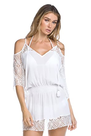 3e684405a01b7 BECCA Women's Poetic Cold Shoulder Swim Cover Up White at Amazon Women's  Clothing store: