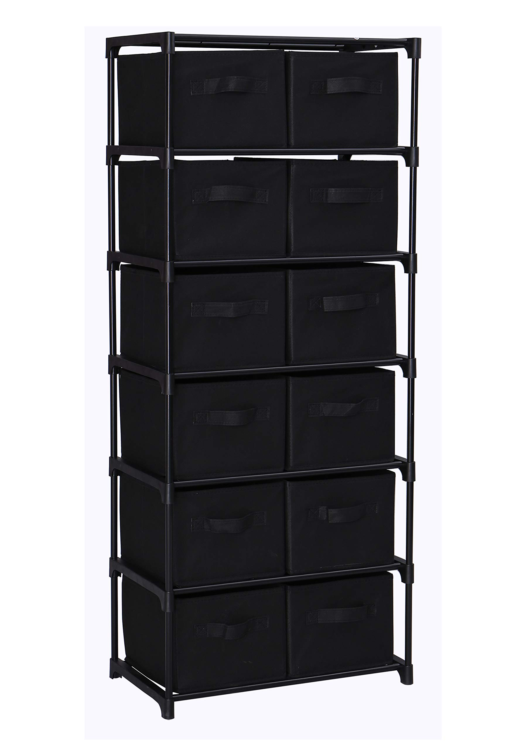 Homebi Drawers Storage Shelf Chest Unit Storage Cabinet Closet Organizer Rack Dresser Storage Towel with Non-Woven Fabric Bins (Black 12-Drawer) by HOME BI