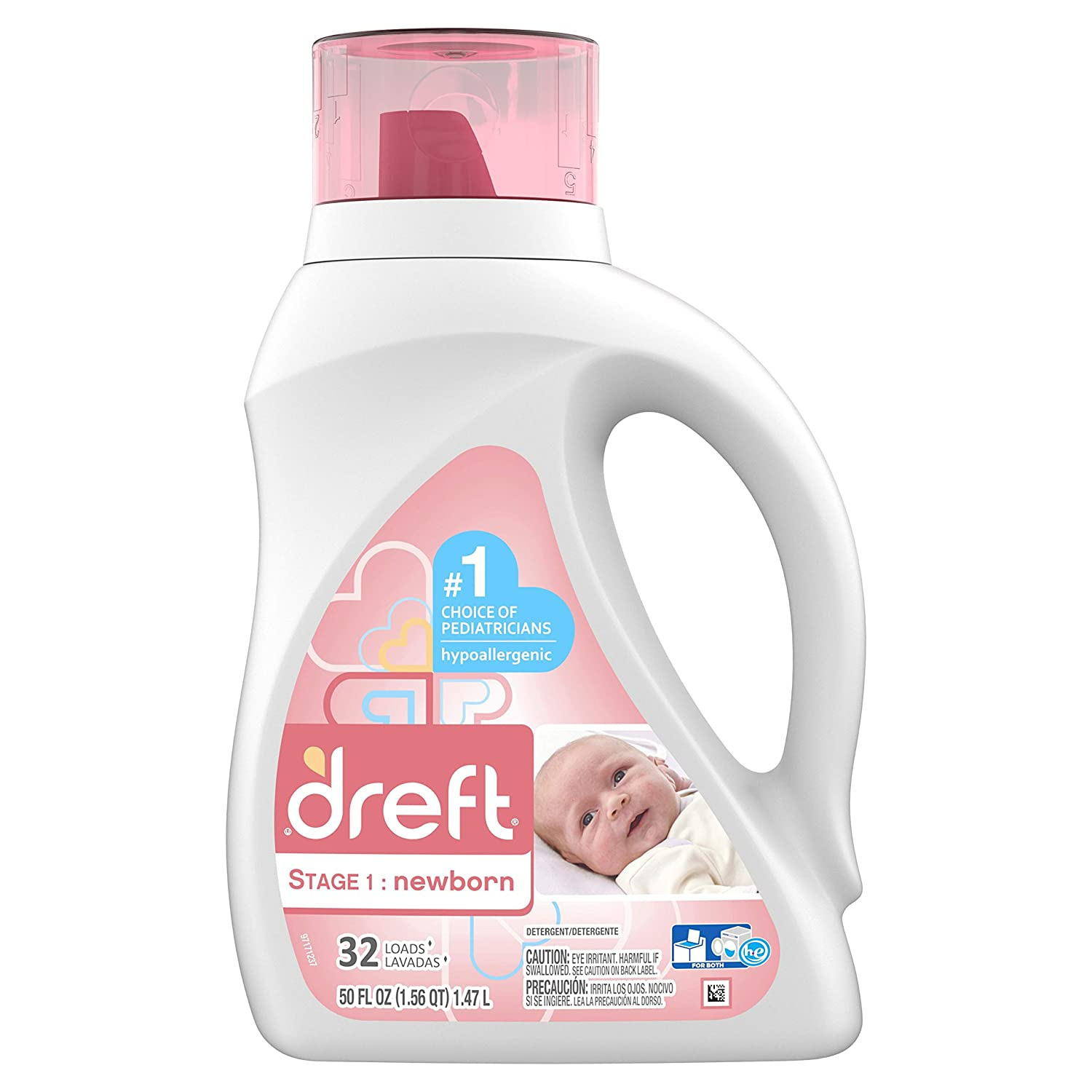 Dreft Stage 1: Newborn Liquid Laundry Detergent (HE),Natural for Baby, Newborn, or Infant, 50 oz,...