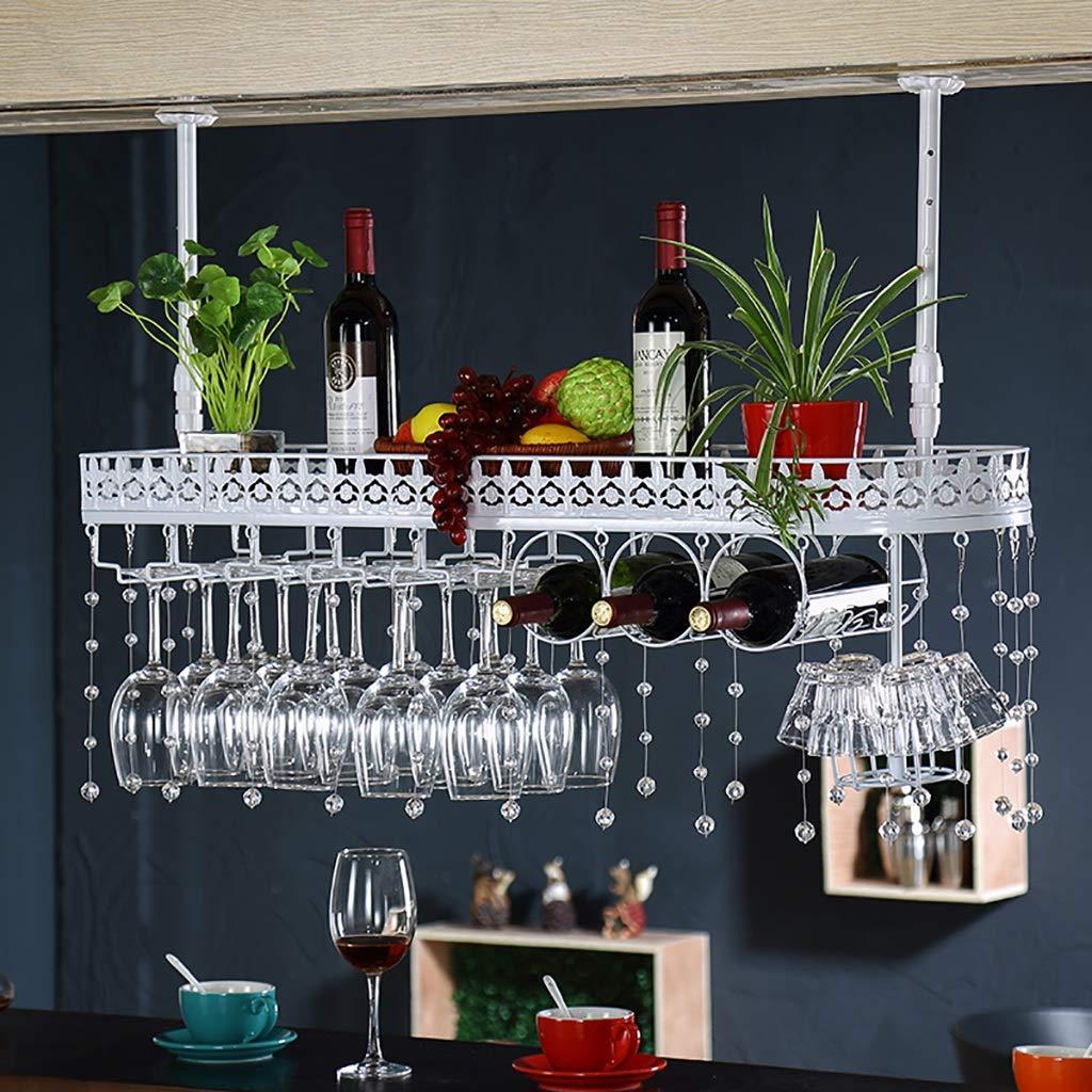 ZCCJJ Colgante de Pared de Metal Montado Vino Champán Copas de Vidrio Stemware Rack Holder, Estante de Vino (Tamaño : 100cm)