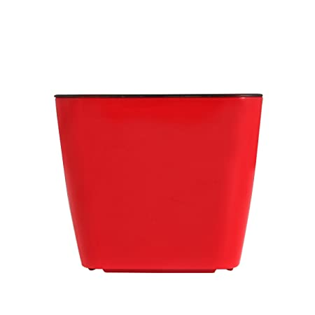 Divine Tree Plastic Decorative Flower Pots (Red, 10x10x9cm)