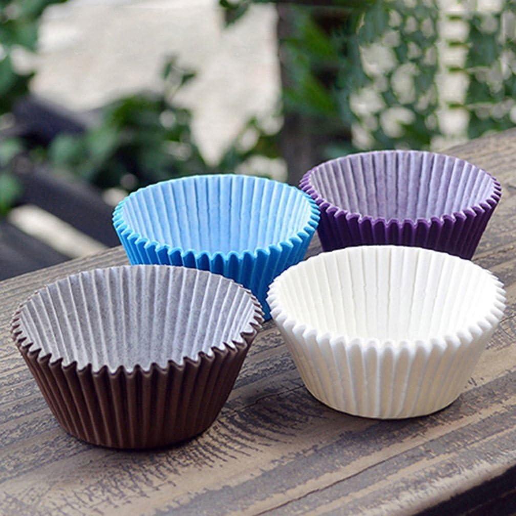 ALCYONEUS Pirottini pirottini per Muffin Cup Liner Alcioneo 100pcs Colore Solido Custodia Blue