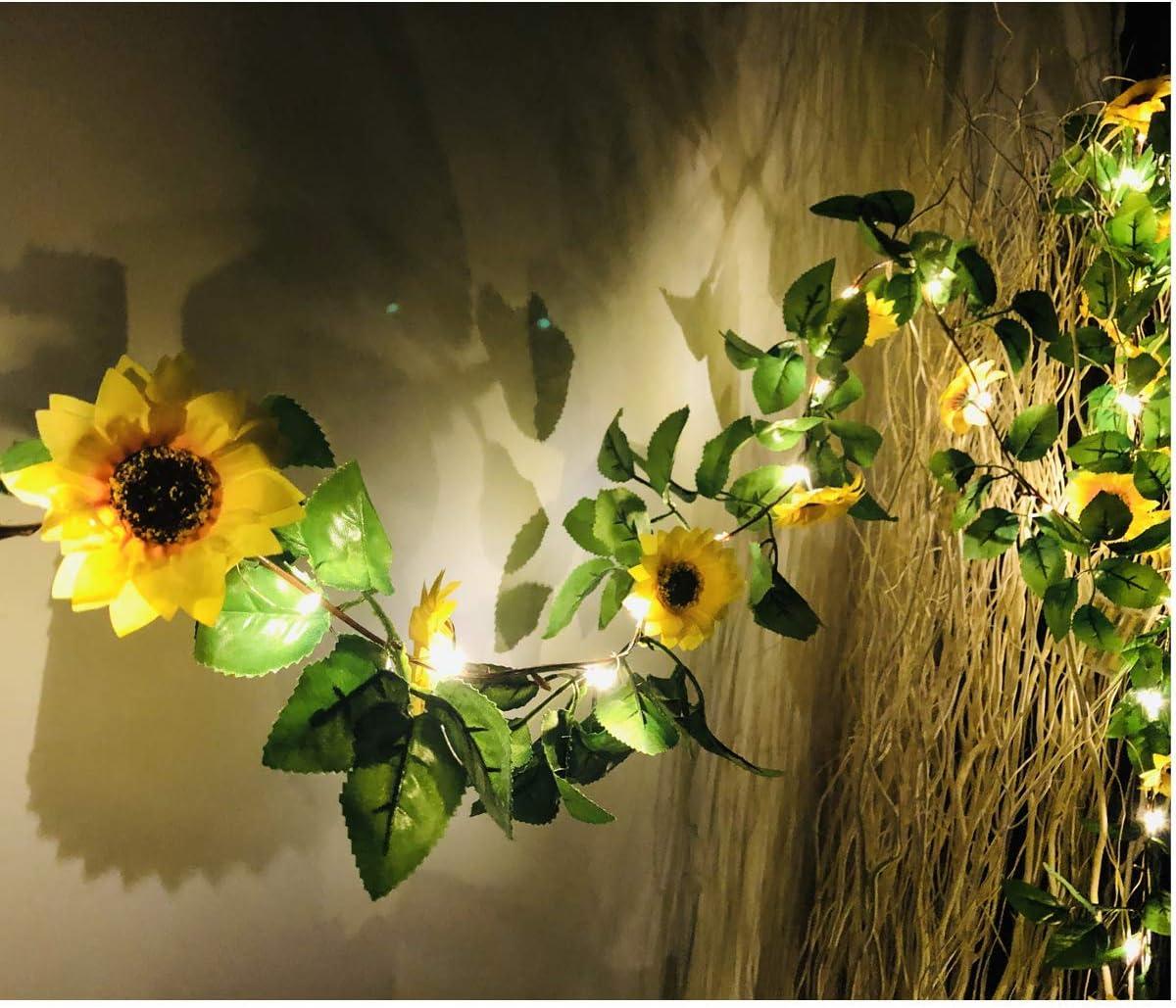 2 Pack Artificial Sunflower String Lights, Fielegen 40 LED 13 FT Sunflower Garland with Lights Battery Powered Flower Fairy String Lights for Indoor Bedroom Wedding Home Garden Decor