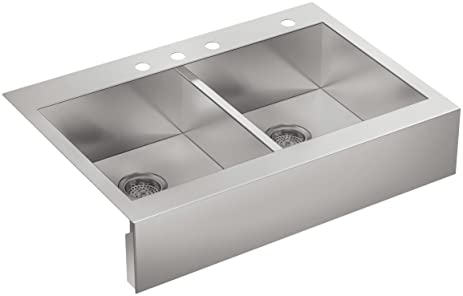 Kohler 3944 4 NA Top Mount Double Equal Stainless Steel Apron