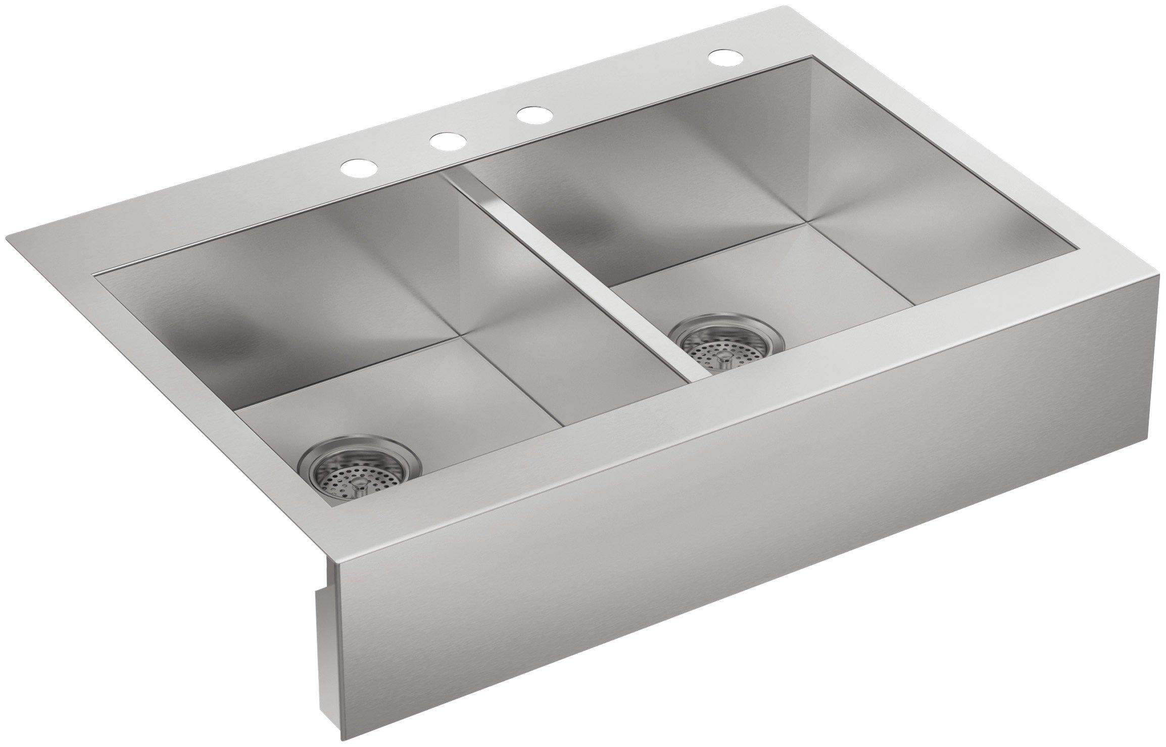 KOHLER Vault Double Bowl 18-Gauge Stainless Steel Apron Front Four Faucet Hole Kitchen Sink, Top-mount Drop-in Installation K-3944-4-NA