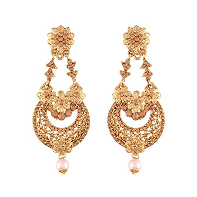 Buy i jewels gold plated traditional chandelier earrings for women i jewels gold plated traditional chandelier earrings for women e2601fl mozeypictures Image collections