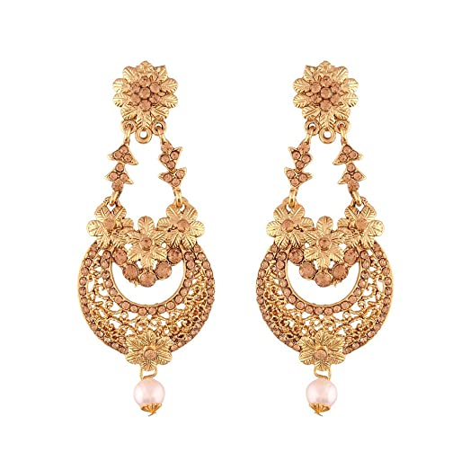 Buy I Jewels Gold Plated Traditional Chandelier Earrings For Women ...