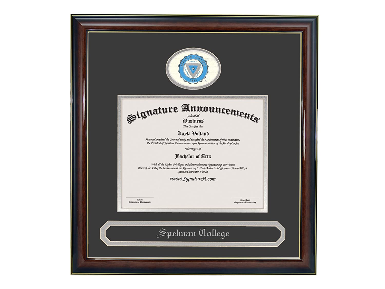 Professional//Doctor Sculpted Foil Seal /& Name Graduation Diploma Frame Gold Accent Gloss Mahogany Signature Announcements Spelman-College Undergraduate 16 x 16