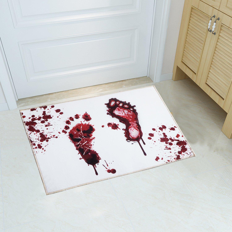 YJ.GWL Halloween Blood Doormat Welcome Door Mat Rug Indoor/Outdoor Mats Decoration Rug for Home/Bedroom(White)