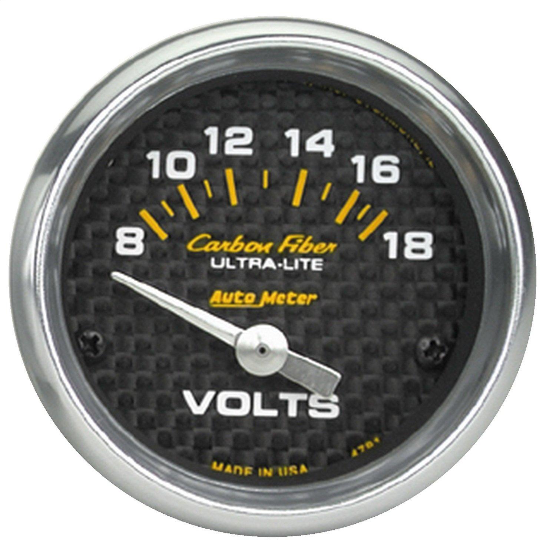 Auto Meter 4791 Carbon Fiber Short Sweep Electric Voltmeter Gauge