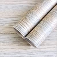 "HaokHome 92052-3M Peel And Stick Wood Wallpaper 17.7""x 9.8ft Light Gray/Light Brown Vinyl Self Adhesive Wall Paper…"